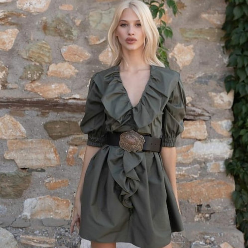 Kurzes Baumwoll-Kleid mit Rüschen