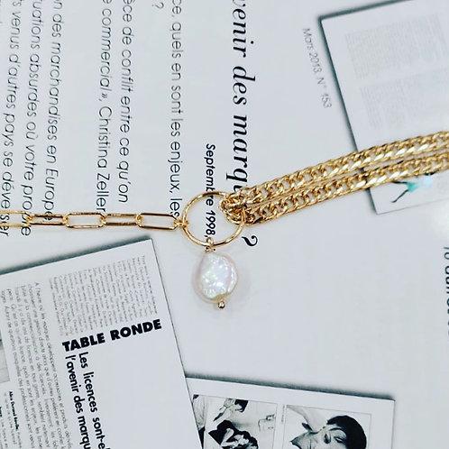Armband mit 2 Kettenarten und Süßwasser-Perle