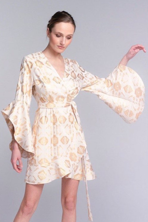 Lace Kleid in creme/ gold