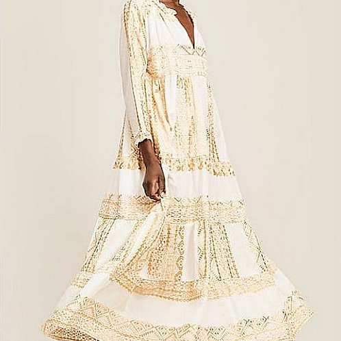Kori Maxi-Baumwoll-Kleid mit Gold-Stickerei