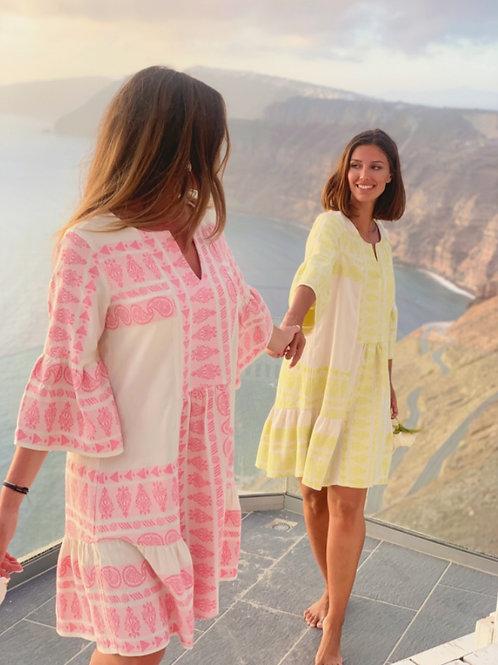 Nema kurzes Baumwoll-Kleid in Lime