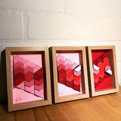 Mini hexagon rood-roze