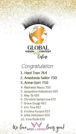 Platz 5 beim Global Vision Lash Contest