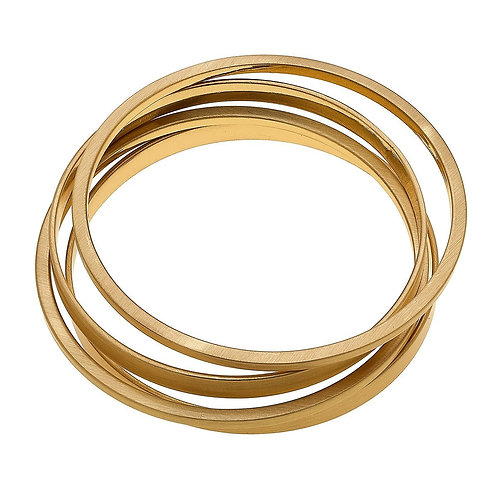 Cleo Bangle Stack In Satin Gold (Set Of 4)