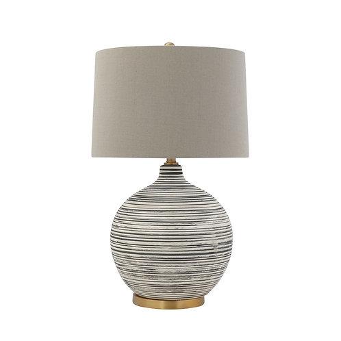 Navy Blue Striped Lamp