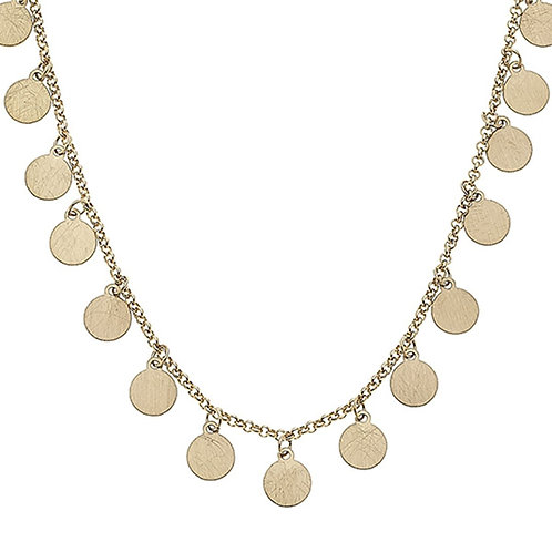 Alexi Drip Necklace In Worn Gold Discs