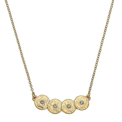 Jenna Discs Bar Necklace In Worn Gold