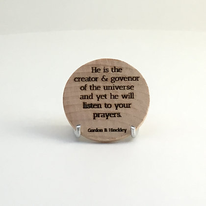 """Wooden Disc with Quote """"Listen"""""""