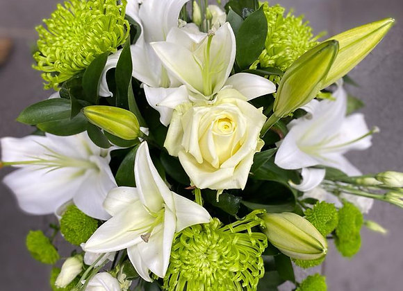 Florist's Choice Green and White Hand Tied Bouquet