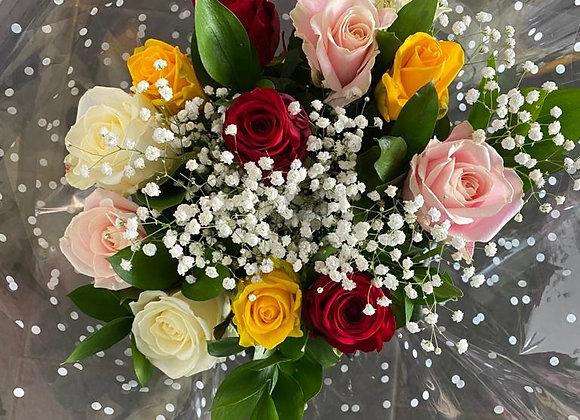 A Dozen Mixed Roses Bouquet