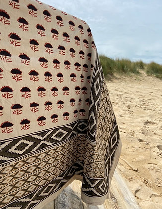 Grande nappe coton Vincent kaki rouge