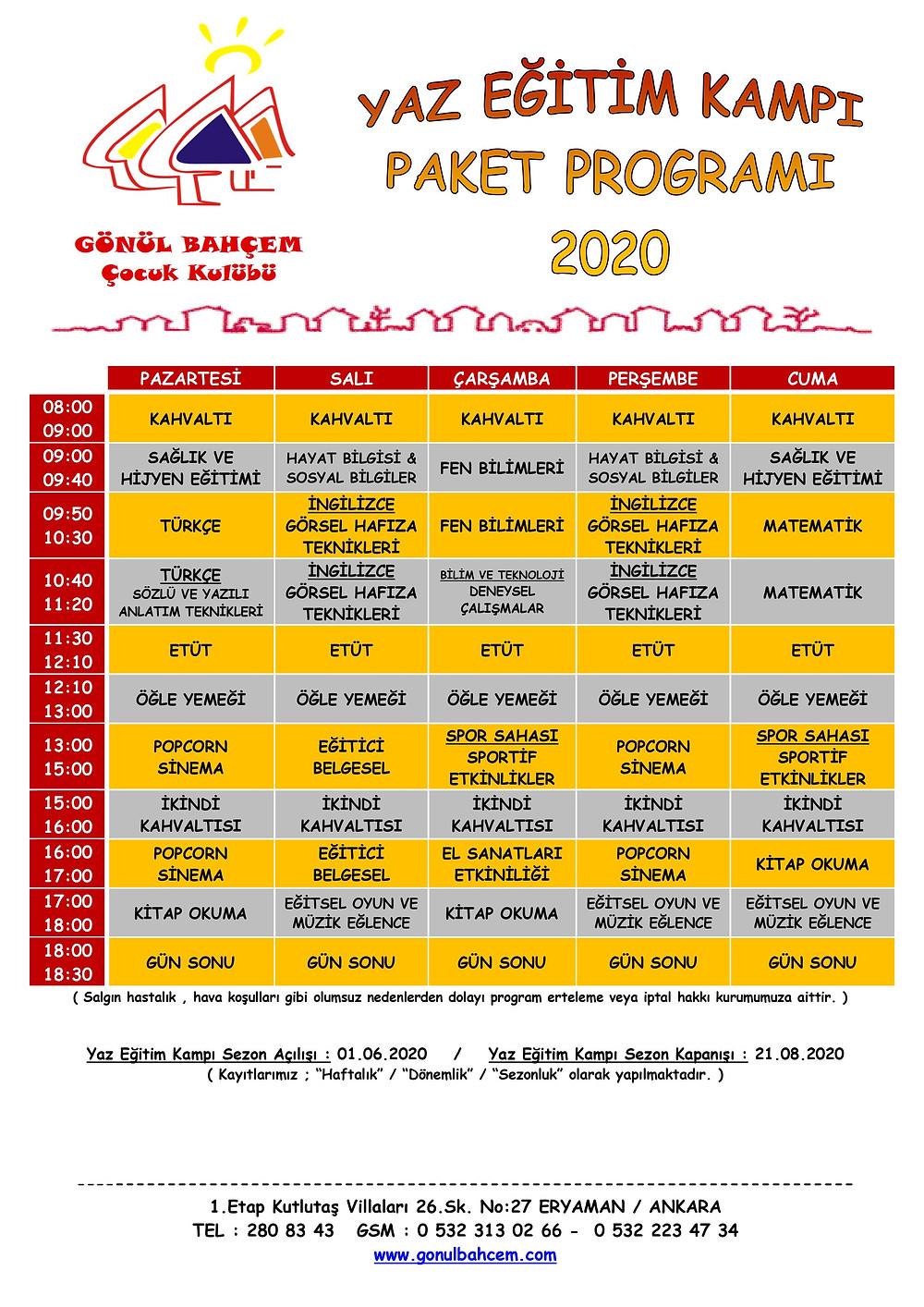 Gönül Bahçem Çocuk Kulübü 2020 Yaz Eğitim Kampı Programı!