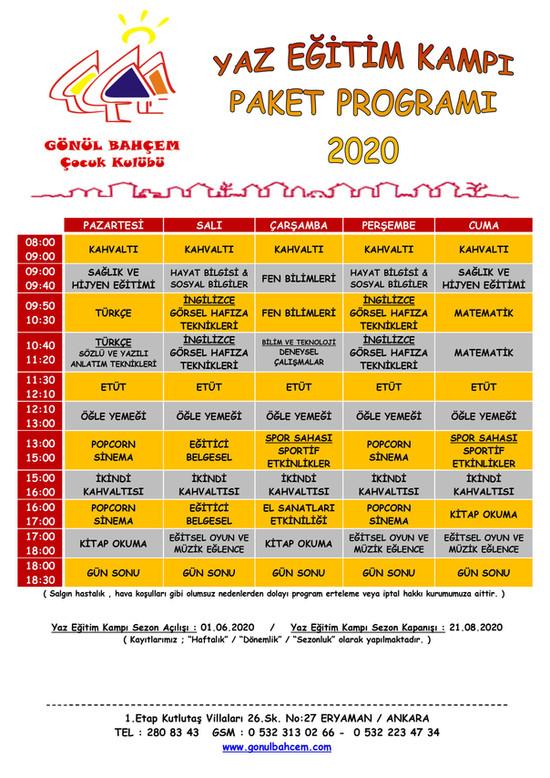 2020 Yaz Eğitim Kampı Programımız!