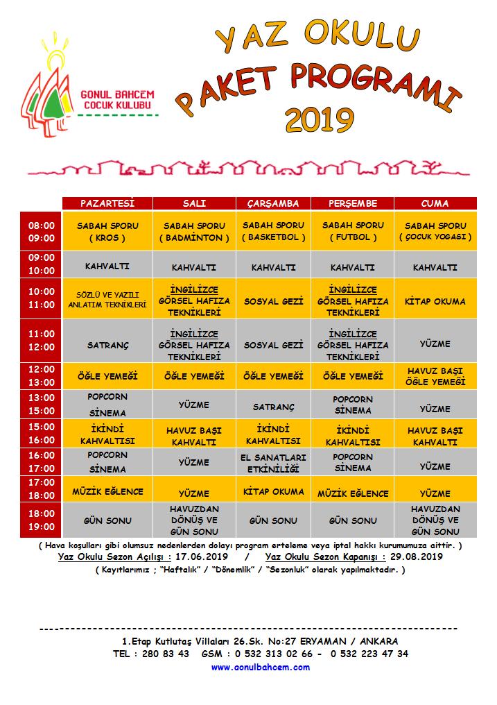 Gönül Bahçem 2019 Yaz Okulu Programı