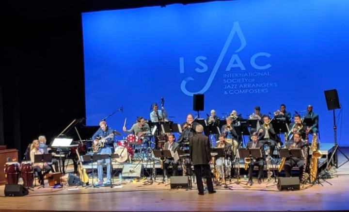 Leading the Colorado Jazz Orchestra Performance at the ISJAC Jazz Composers' Symposium in May 2019. Most of that concert was conducted by our guest, Vince Mendoza.