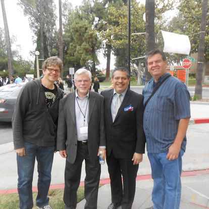Alex, me, Luis, and Jose about 25 years later at the RCC Jazz Festival where Luis was feaured and I was adjudicating
