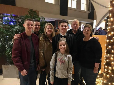 Our Family after Josh's All-Southern Symphonic Band Performance in January 2020. Jonathan, Jorge, Heather, Brooklyn, Joshua, David, Linda.
