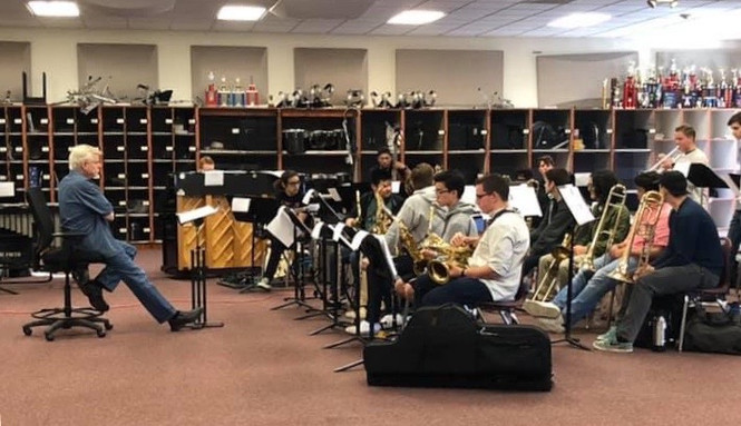 In rehearsal with the SCBOA All-Stars in January 2019