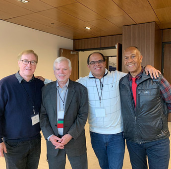 With composer friends Dave Slonaker, Socrates Garcia, and John Clayton at the ISJAC Jazz Composers' Symposium in May 2019