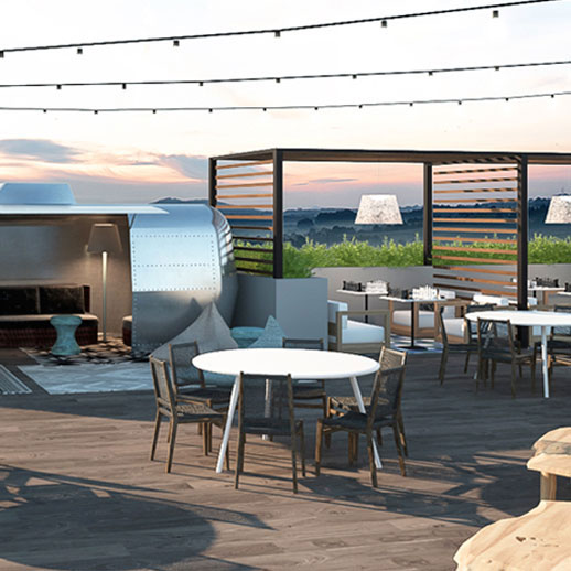 Haven Apartments rooftop lounge with views of Culver City