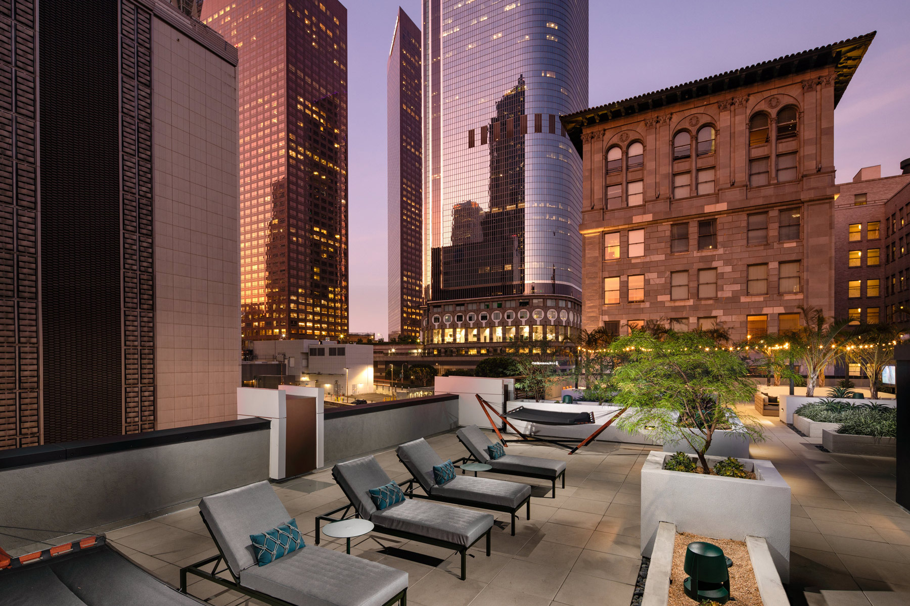 Trademark Apartments outdoor space with view of skyscrapers in Downtown Los Angeles