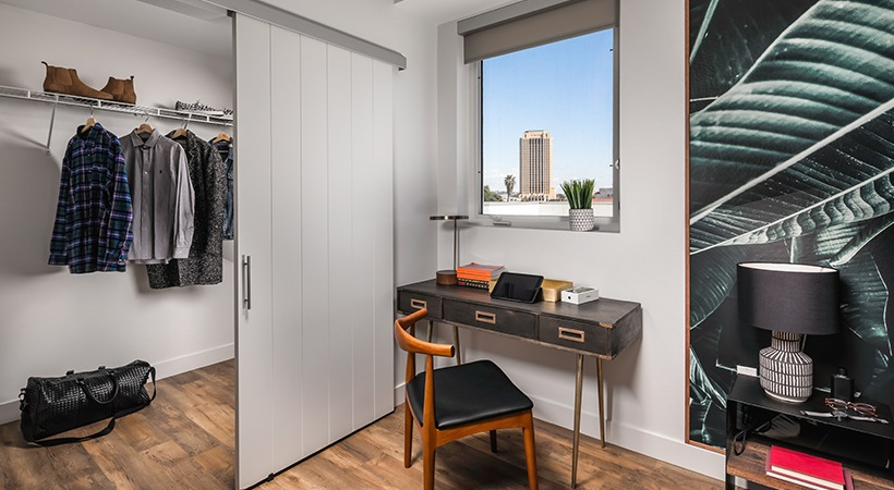 La Plaza Village Apartments closet and small workspace