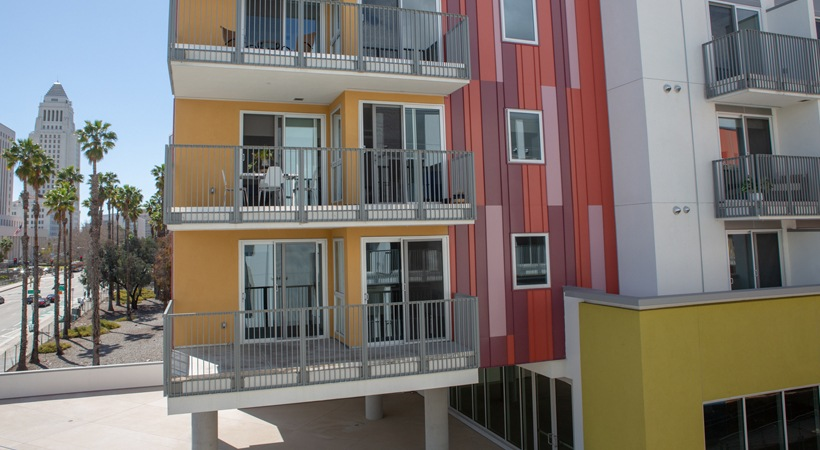 Exterior of La Plaza Village Apartments in the neighborhood of Chinatown in Downtown Los Angeles