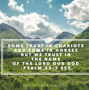 View of mountains and words trust in the Lord