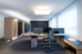 Individuell gestalteter Arbeitsplatz für Bürotätigkeit. Höhenverstellbare Arbeitsplatte in Sockel integriert. Sicht - und Schallschutz über Filzbespannte Abtrennung zum Nachbarn. Robuste Arbeitsfäche aus Finix Schichtstoffmaterial mit eingelegter Linolfläche als Schreibunterlage.