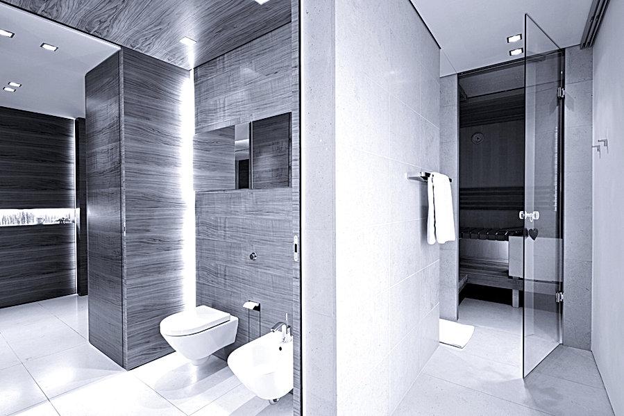 Masterbad mit Nussbaumverkleidung für exklusive Kunden. Innenarchitektur und individuelle Badgestaltung. Hochwertige Schreinerarbeit und Innenausbau mit exklusiven Materialien. Bestes design für hochwertige Kunden.