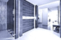 Loft in München. Foyer und Eingangsbereich in Nussbaum Massivholz. Beleuchtung integriert vom innenarchitekten geplant. Grasornament in Plexiwand als Sichtschutz. Offener Loftgrundriss mit offener Küche. Individuelle Planung von Wohnzimmer und Küche. Beleuchtungsplan vom Designer mit Aufbauleuchten und Einbaustrahlern.
