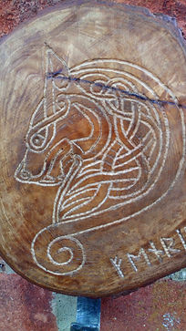 Fenrir carving and coat hook by Moon Rabbit Craftworks