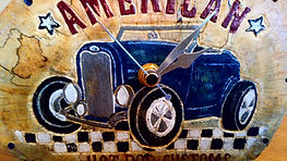 American Hot Rod carved wood clock gift by Moon Rabbit Craftworks