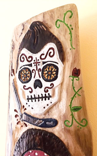Day of the dead salon wood carving by Moon Rabbit Craftworks