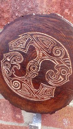 Huginn and Muninn carving and coat hook by Moon Rabbit Craftworks