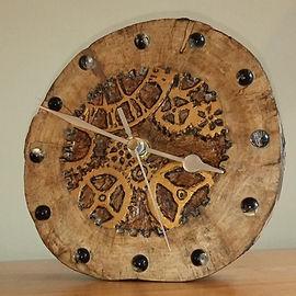 Steam punk hand carved clock by Moon Rabbit Craftrworks