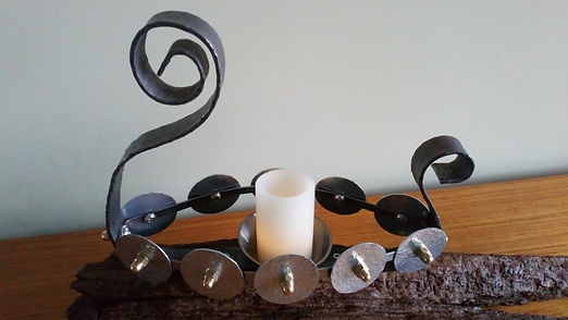 Viking Norse longboat metal candle holder by Moon Rabbit Craftworks