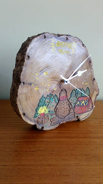 Bear Adventure Time carved wooden clock by Moon Rabbit Craftworks