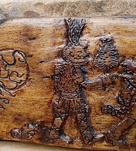 The Box of Delights wood carving by Moon Rabbit Craftworks
