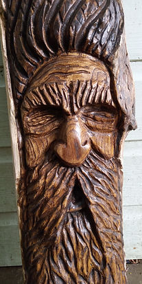Hand carved wood spirit wizard