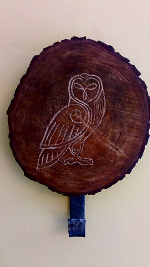 Celtic Owl wood carving & coat hook by Moon Rabbit Craftworks