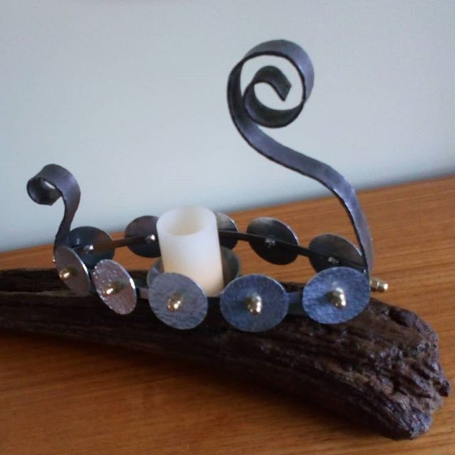 Viking ship tealight holder