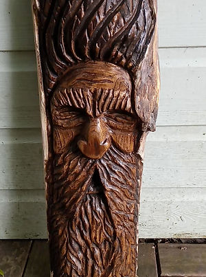 Hand carved wood spirit wizard by Moon Rabbit Craftworks