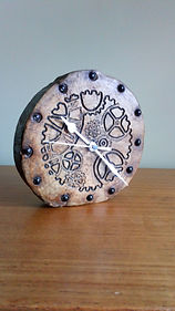 Steam punk carved wooden clock by Moon Rabbit Craftworks