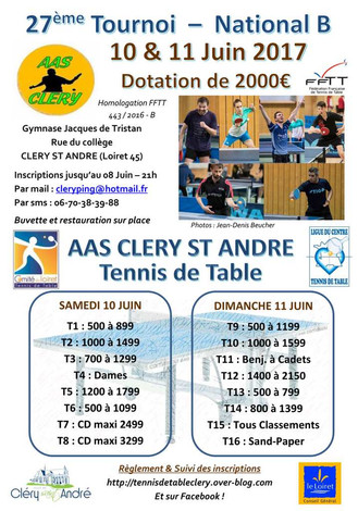 TOURNOI NATIONAL B - CLERY ST ANDRE - JUIN 2017