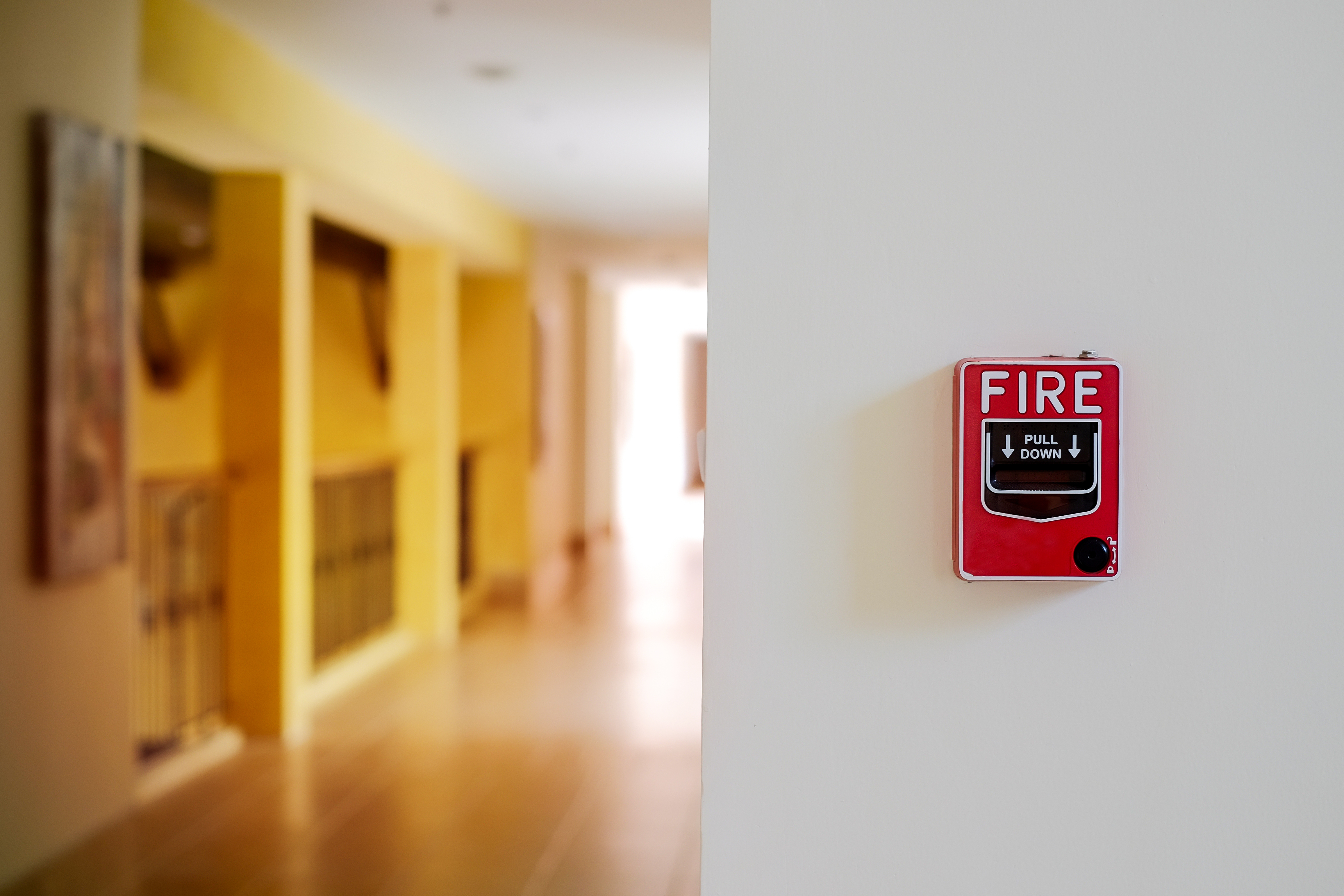 fire alarm system box installed on wall