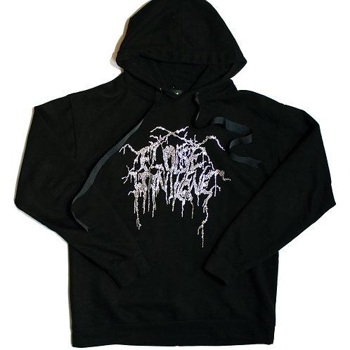 Black Metal Rhinestone Hoodie