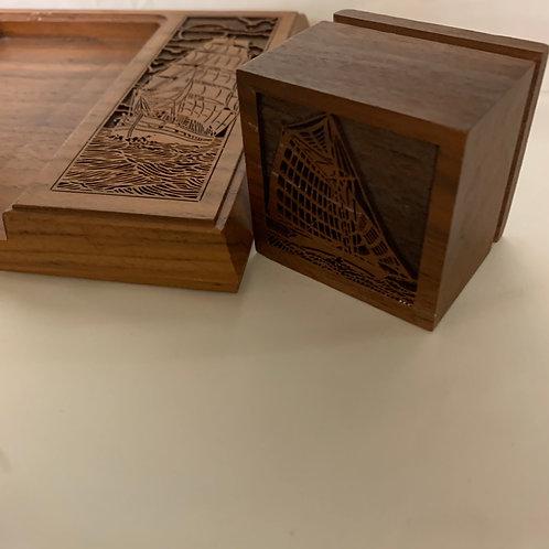 Vintage carved desk/ stationery set