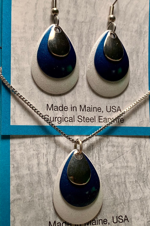 Shimmering Blue- Necklace/Earring Set- Eye Catching Jewelry