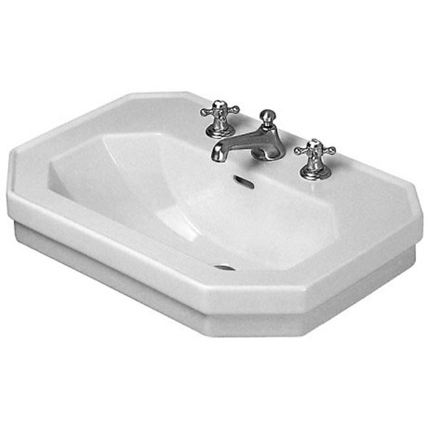"""Duravit 0438600087 1930 Ceramic 23-5/8"""" Bathroom Sink for Wall Mounted or Pedestal Installations with Widespread Faucet Holes and Overflow"""